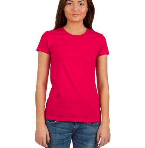 Ekologiska kläder med eget tryck   Rättvisemärkt dam figursydd T-Shirt db3e6923eac88