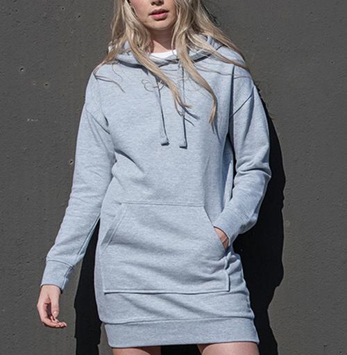 Lång hoodie klänning med eget tryck