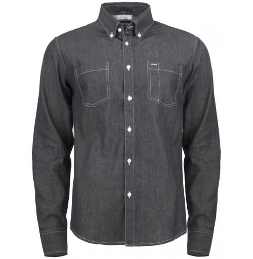 Skjorta denim jeanstyg med eget tryck
