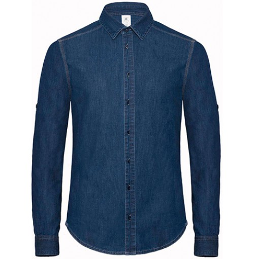 Skjorta i denim jeanstyg med eget tryck